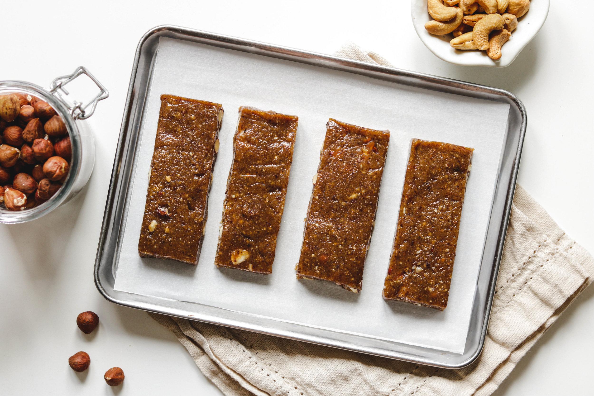 no bake caramel fruit nut bar on tray
