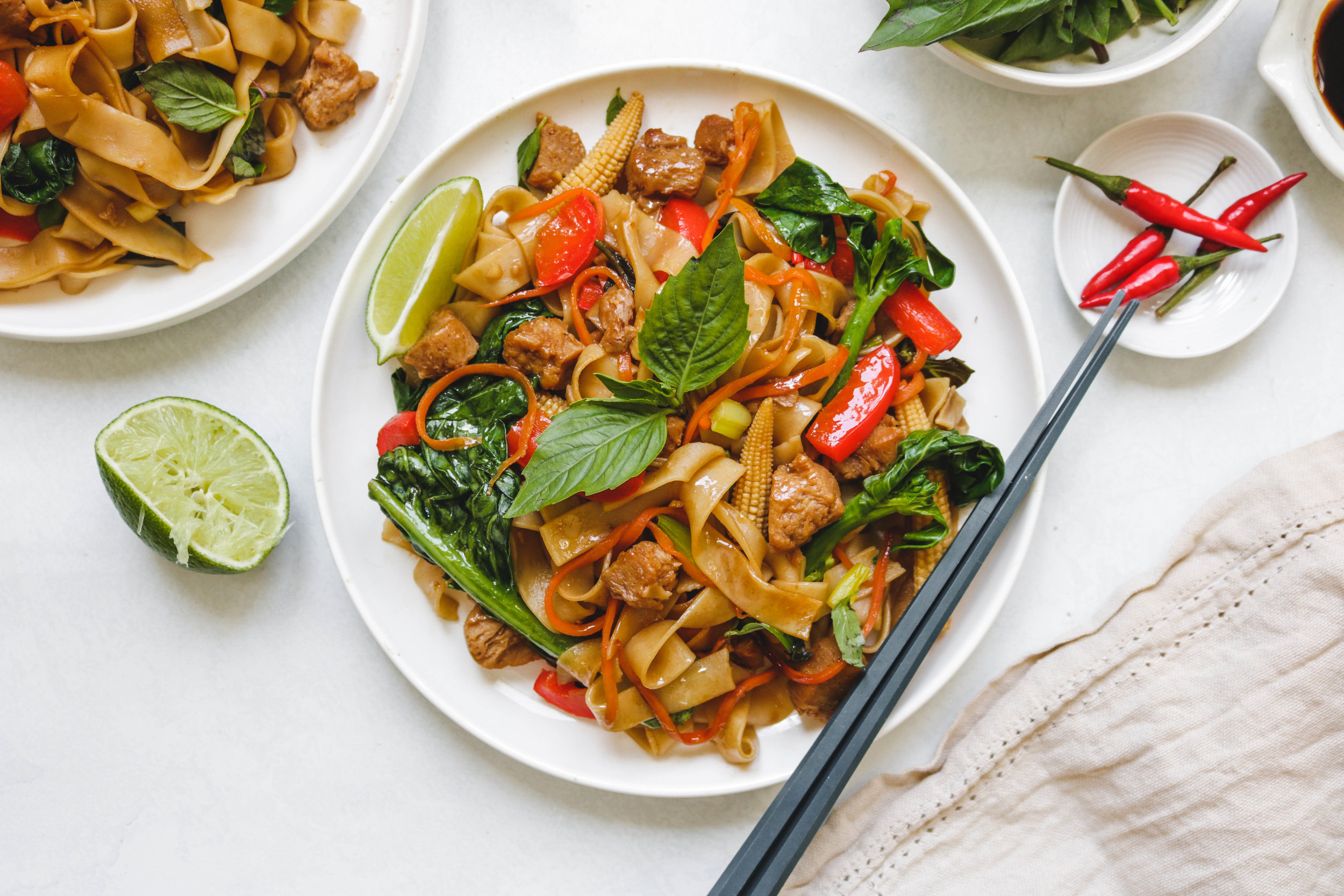 vegan pad kee mao on white plate
