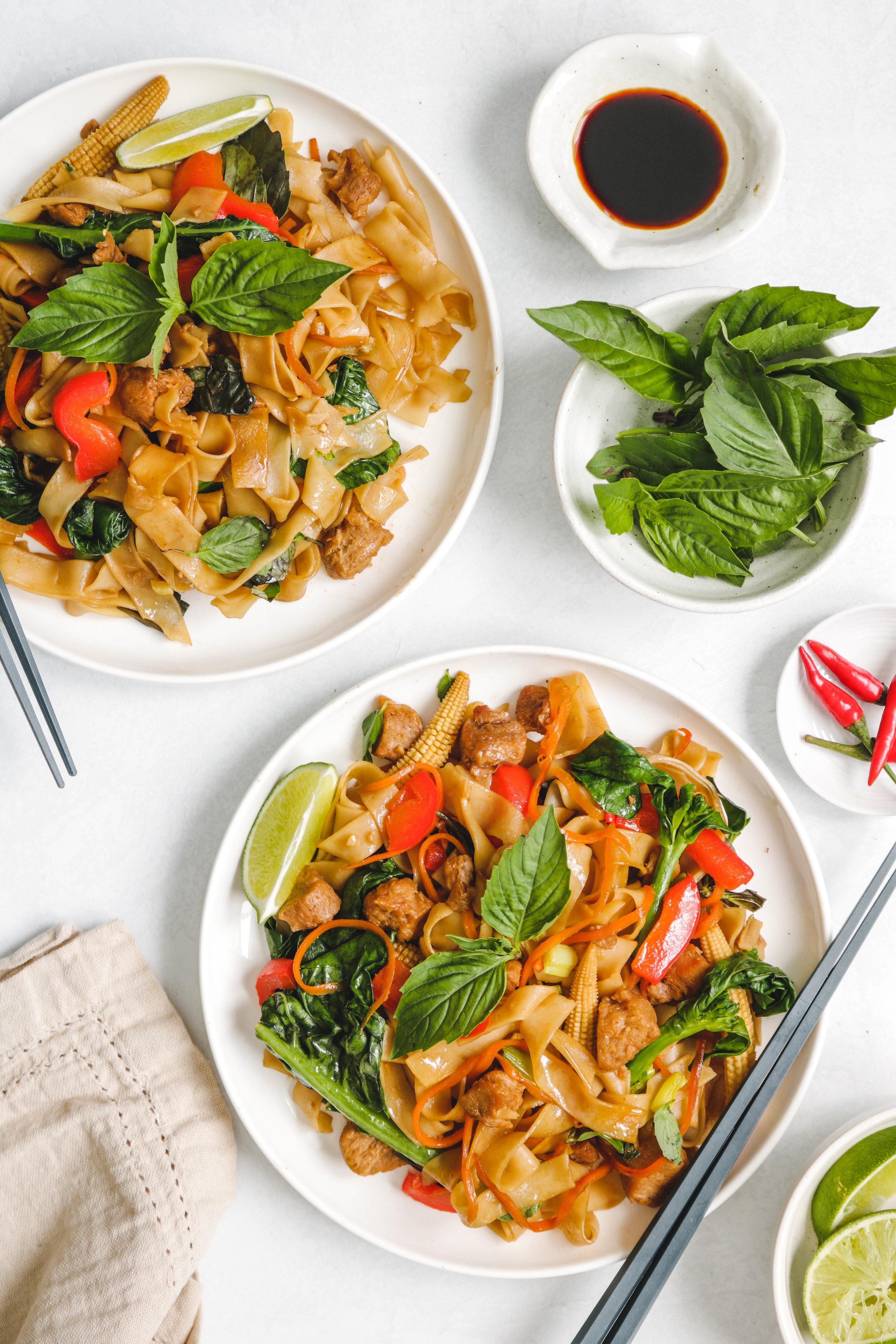 vegan pad kee mao on white plate