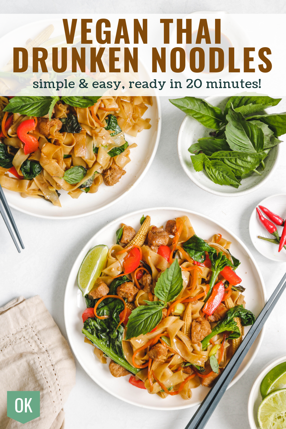 vegan thai drunken noodles on white plate