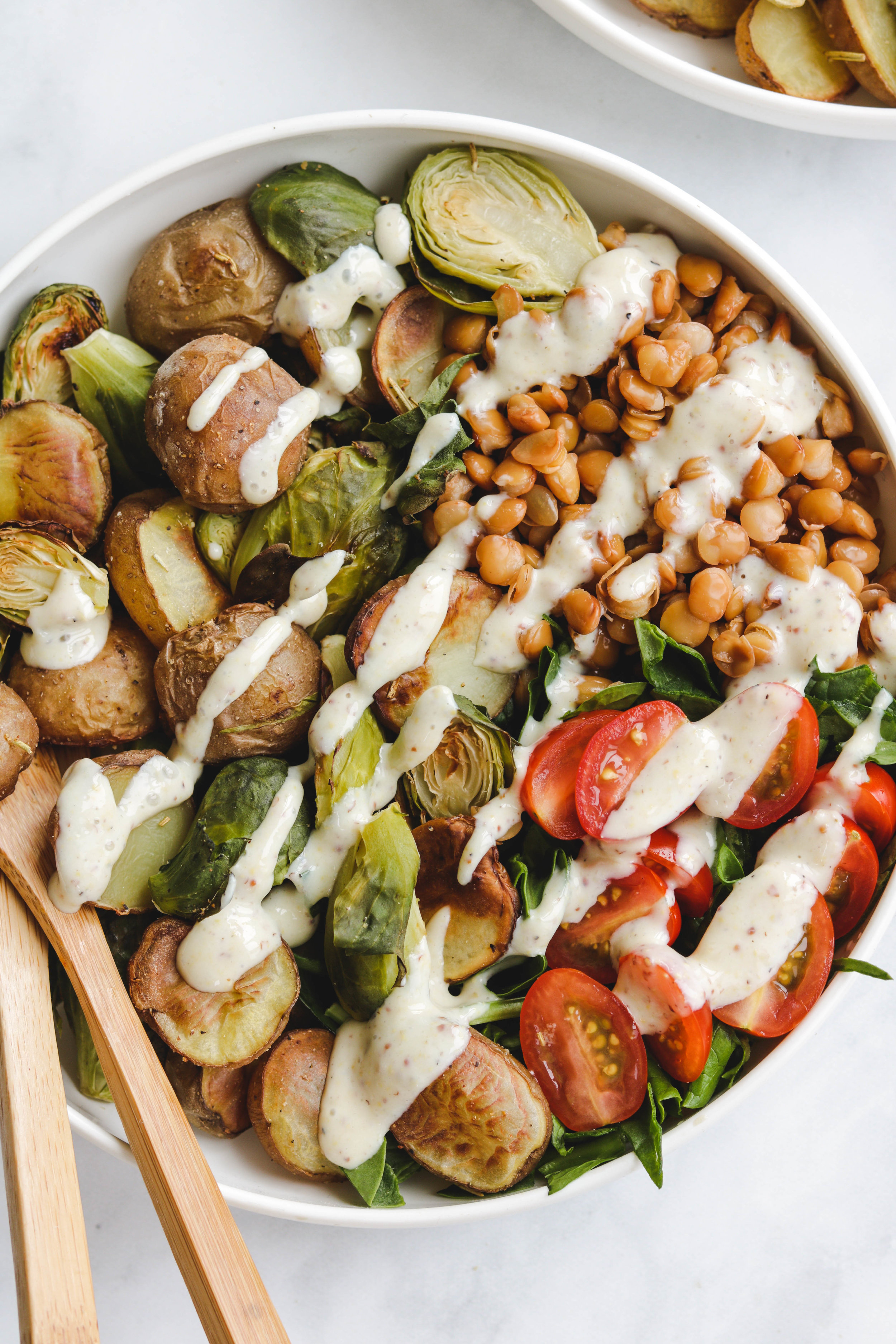 Lentil Roasted Potato Brussel Sprout Salad With Maple