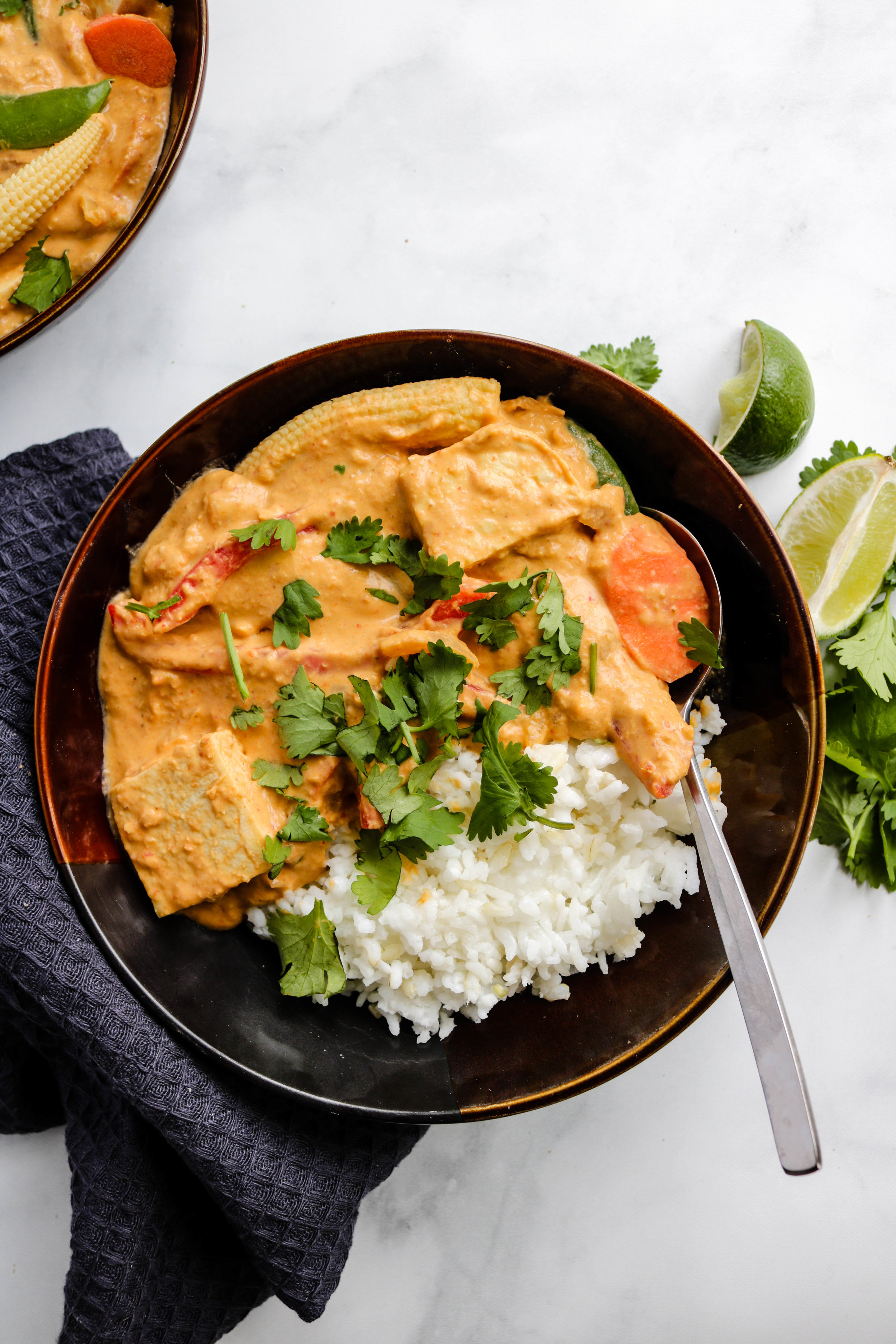 VEGAN RED THAI COCONUT CURRY WITH PUREED CHICKPEAS OKONOMI KITCHEN