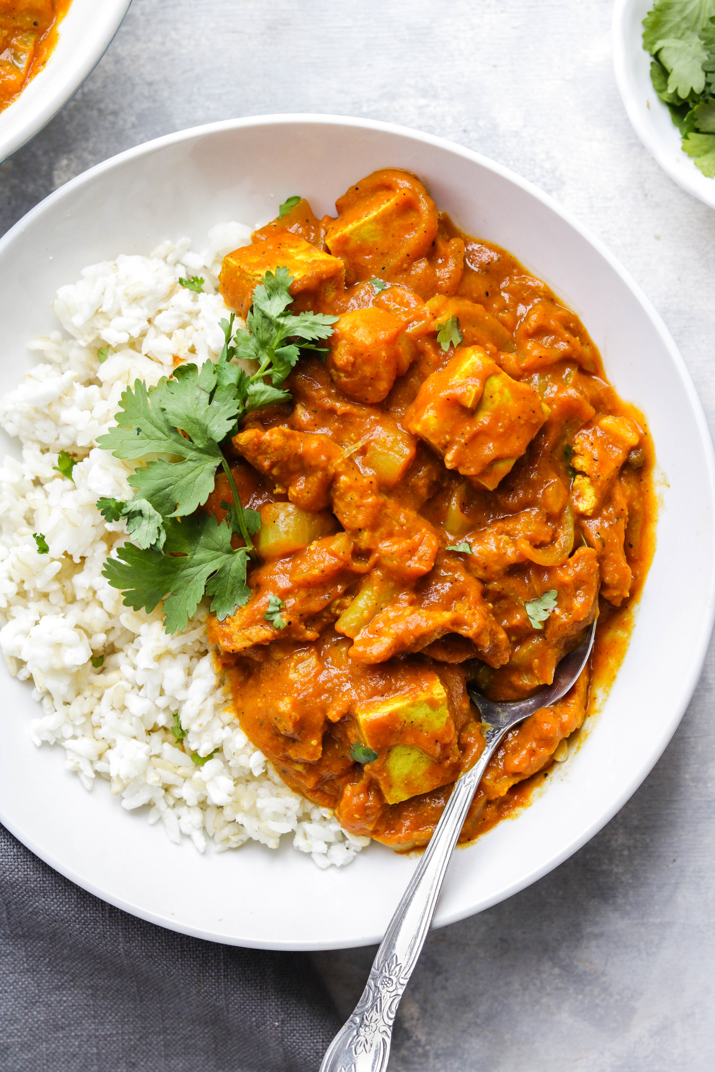 indian curry with tofu in a bowl