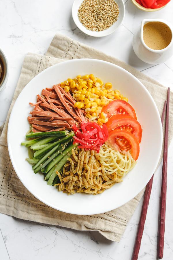 hiyashi chuka in white bowl