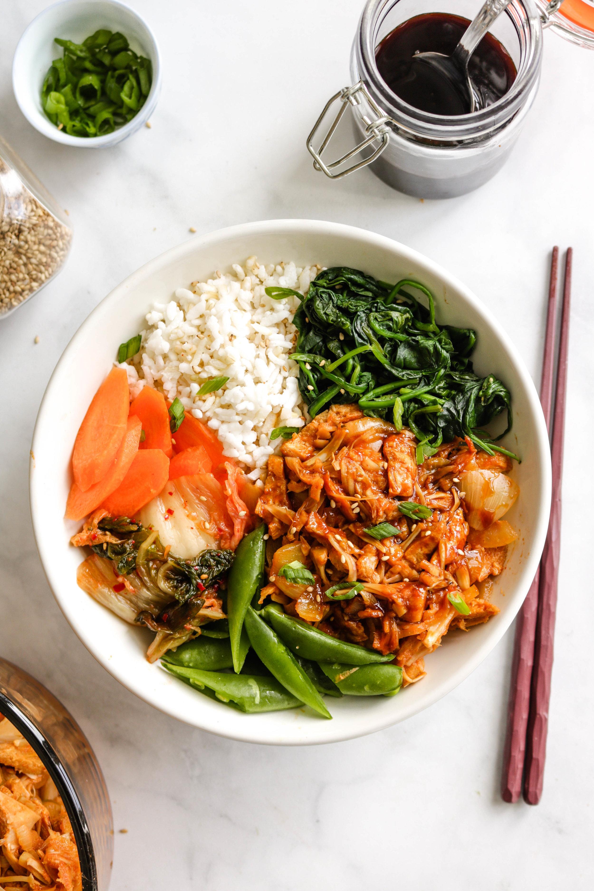 vegan korean BBQ pork in bowl