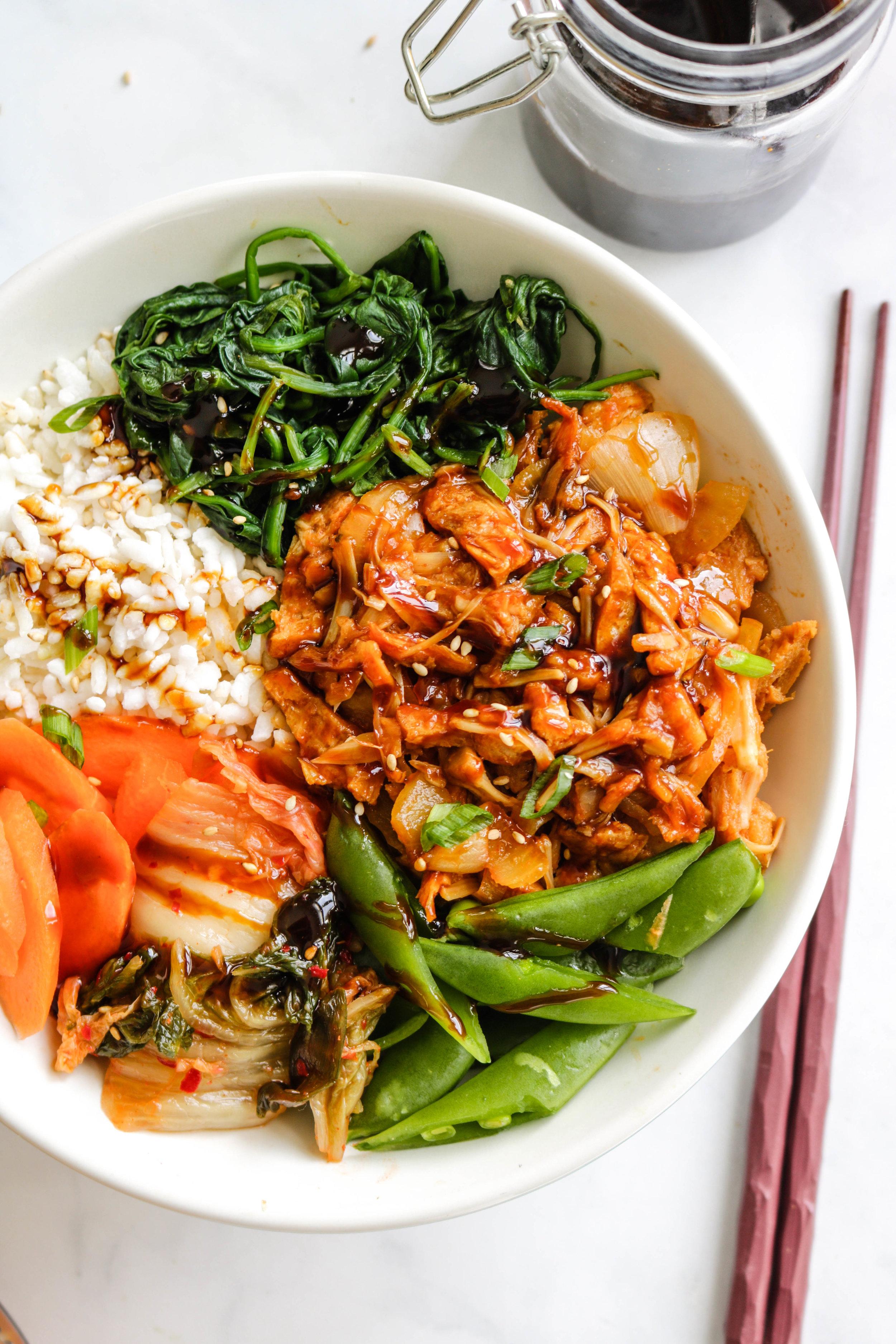 vegan korean BBQ pulled jackfruit in white bowl close up