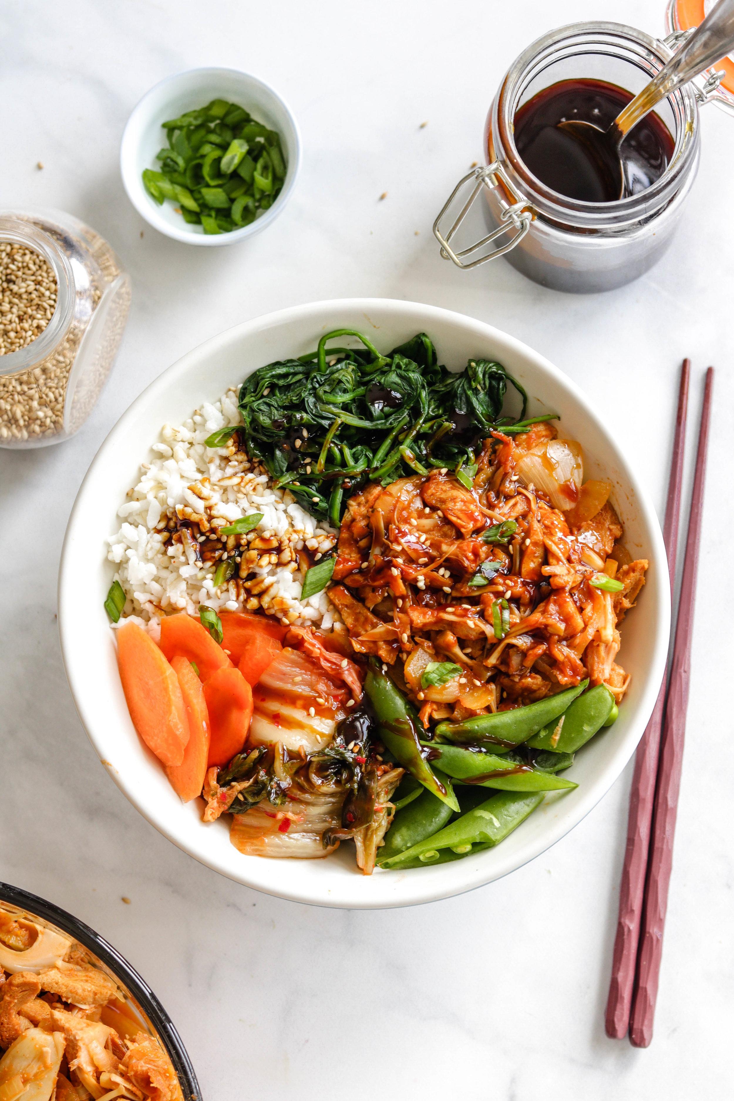 vegan korean BBQ pulled pork in white bowl
