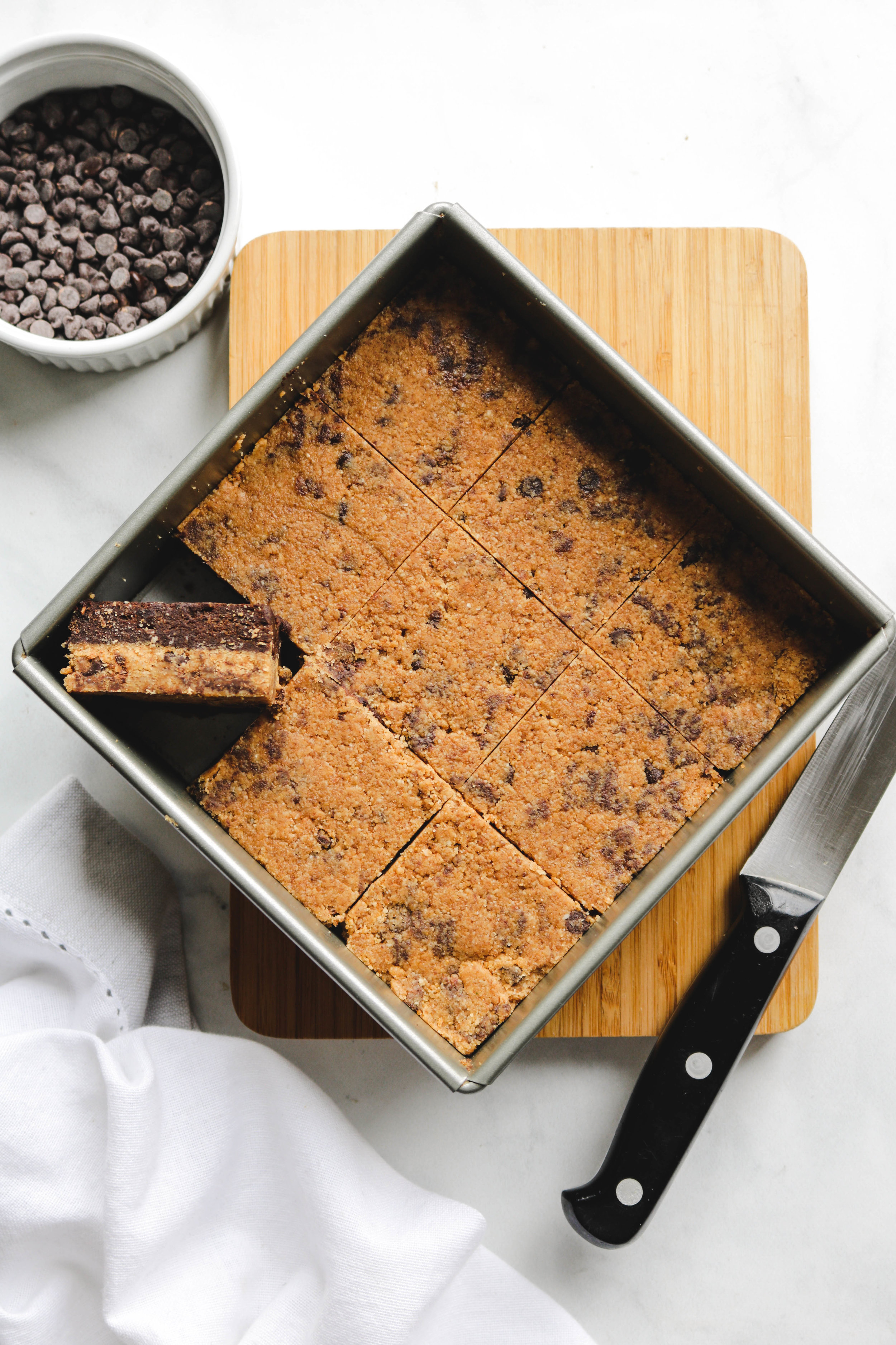 No Bake Cookie Dough Brownies in the pan