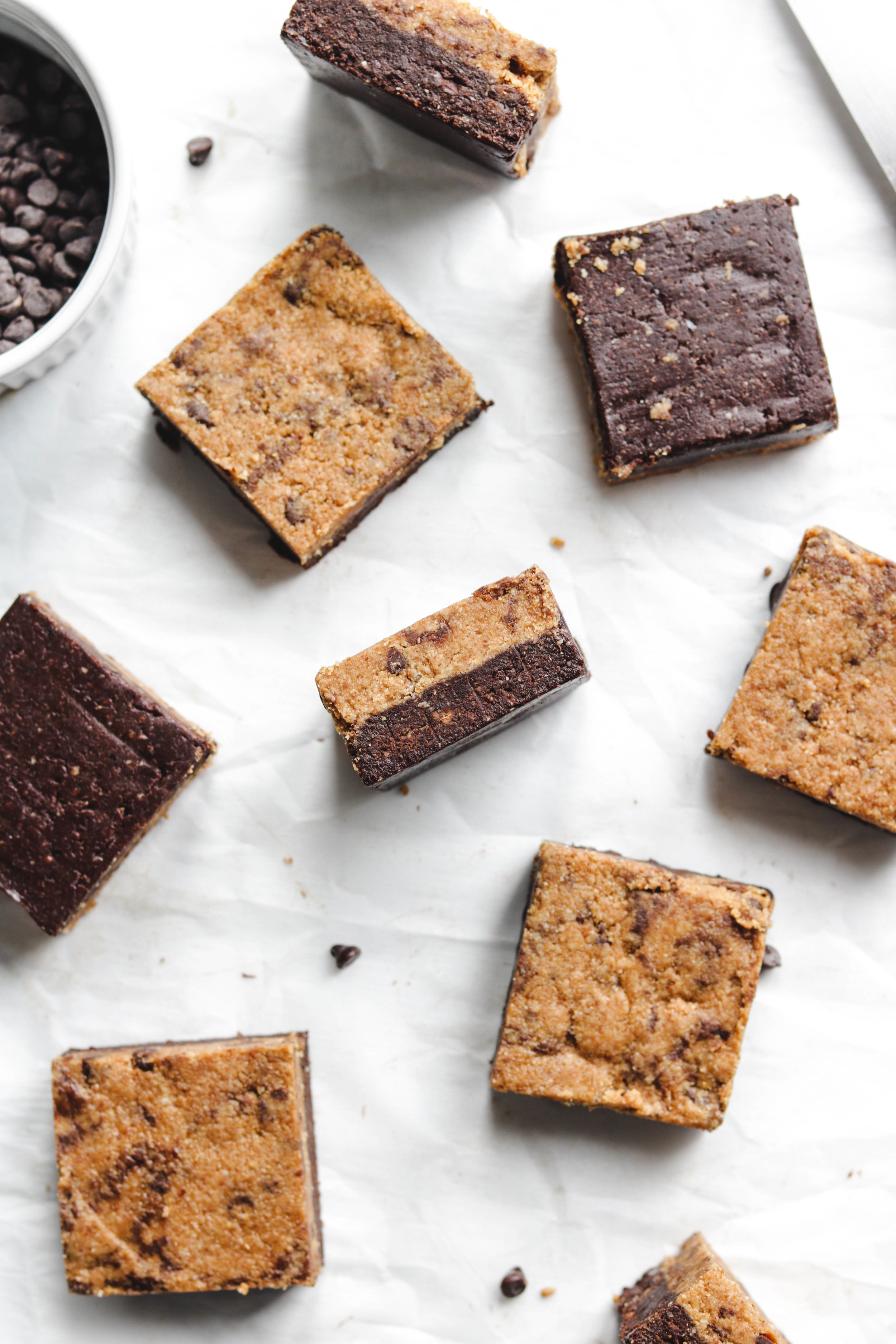No Bake Cookie Dough Brownies on parchment paper