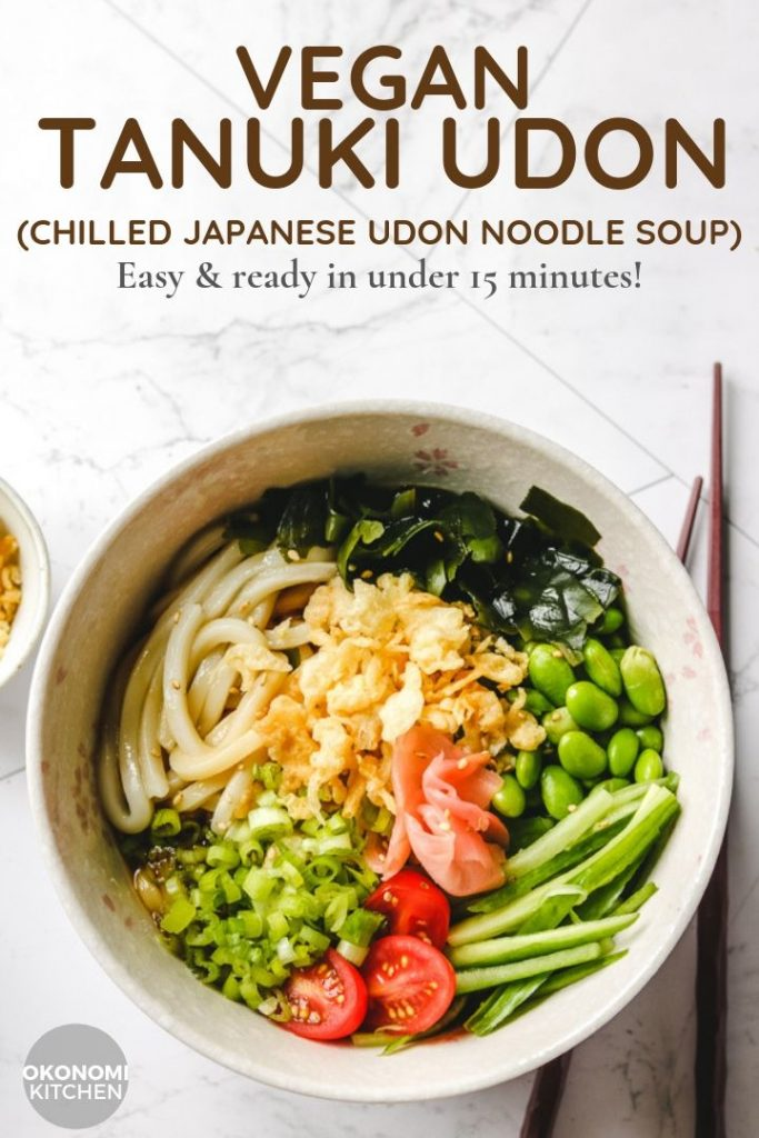 chilled udon noodles in pink bowl