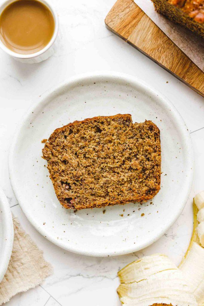 vegan gluten free banana bread on white plate