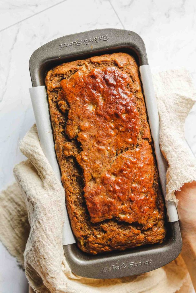 eggless banana bread in a loaf pan after baked