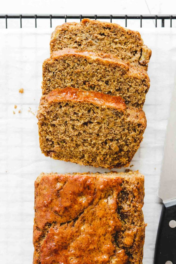 cooling gluten free banana bread on wire rack