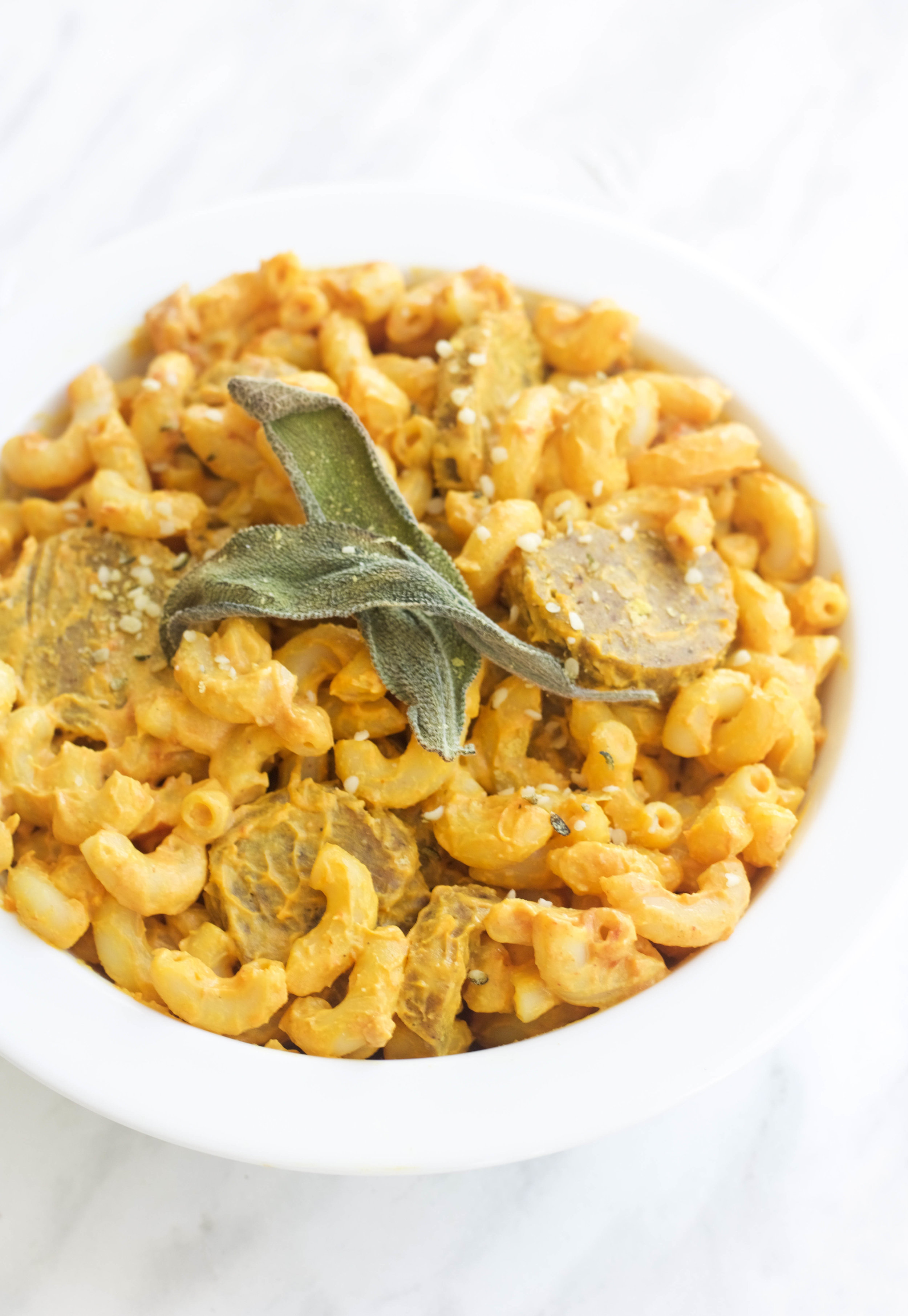 INGREDIENTS:    Creamy Cheese Sauce:   1/2 cup cashews (soaked)  2.5 tbsp tomato paste  1 tsp miso  1/4 C nutritional yeast  1/2 lemon juiced  2/3 C almond milk  1/2 C mashed sweet potato  1/2 tsp each of: onion powder, garlic powder, tumeric, paprika, and salt   1.5 cup macaroni (dry) - I love Gogoquinoa pastas!!    Maple Seitan Sausage:   2 tbsp mashed white beans  1 tsp maple syrup  1 tbsp soy sauce  1/4 c veg broth  1 tsp liquid smoke  1 tbsp tahini  1/4 c VWG (60g)  1 tbsp nooch  1/4 tsp ginger  1/2 tsp garlic powder  1/4 tsp all spice  1/8 tsp nut meg  1/8 tsp cloves  1 tsp smoked paprika  1 tbsp chickpea flour   BBQ Chicken   1/2 onion, chopped  2 servings of Soy curls (soaked in water)  1/2 c BBQ sauce   Taco   1/2 onion, chopped  1/2 tomato diced  2 servings taco crumbles, soaked