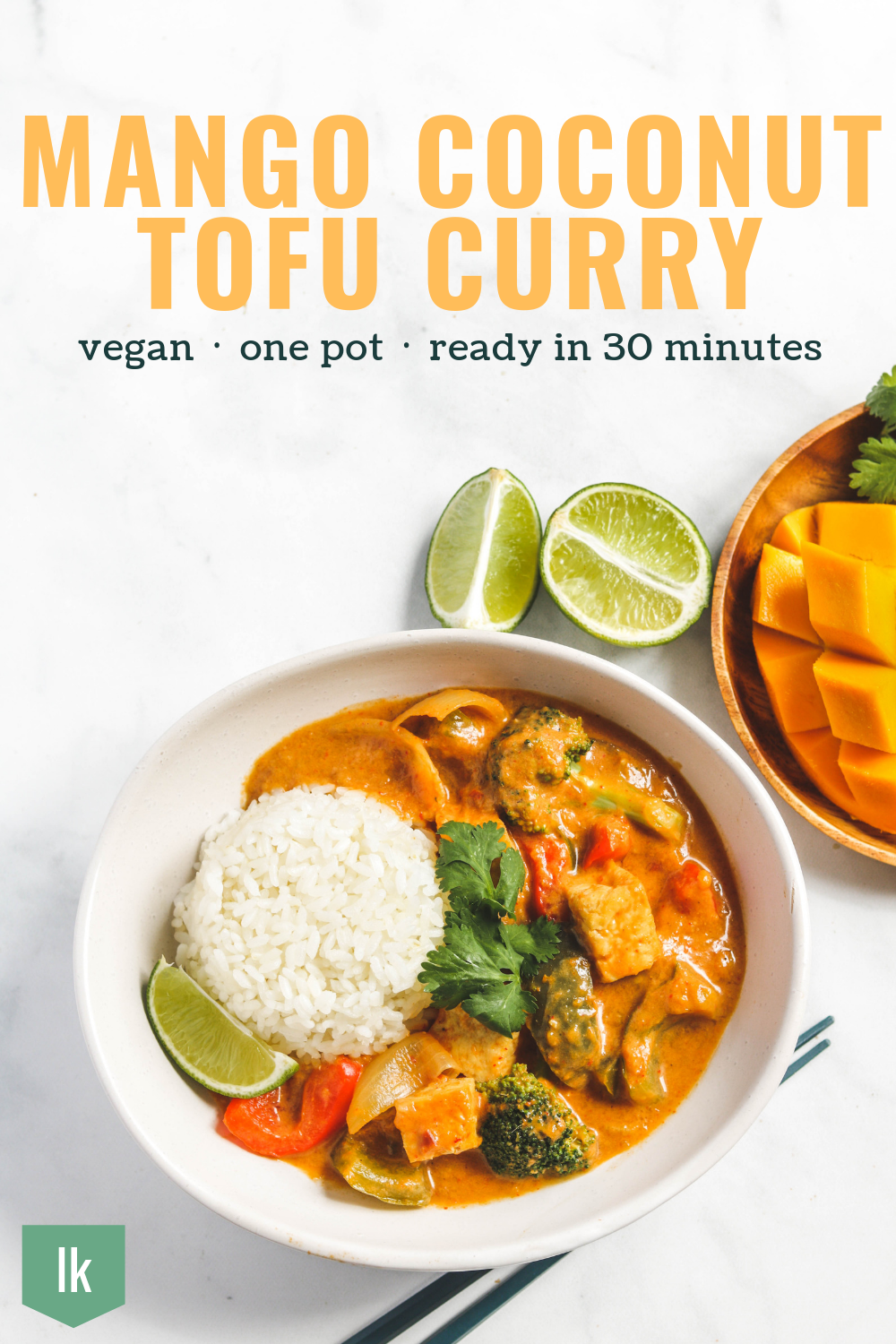 mango coconut thai tofu and vegetable curry
