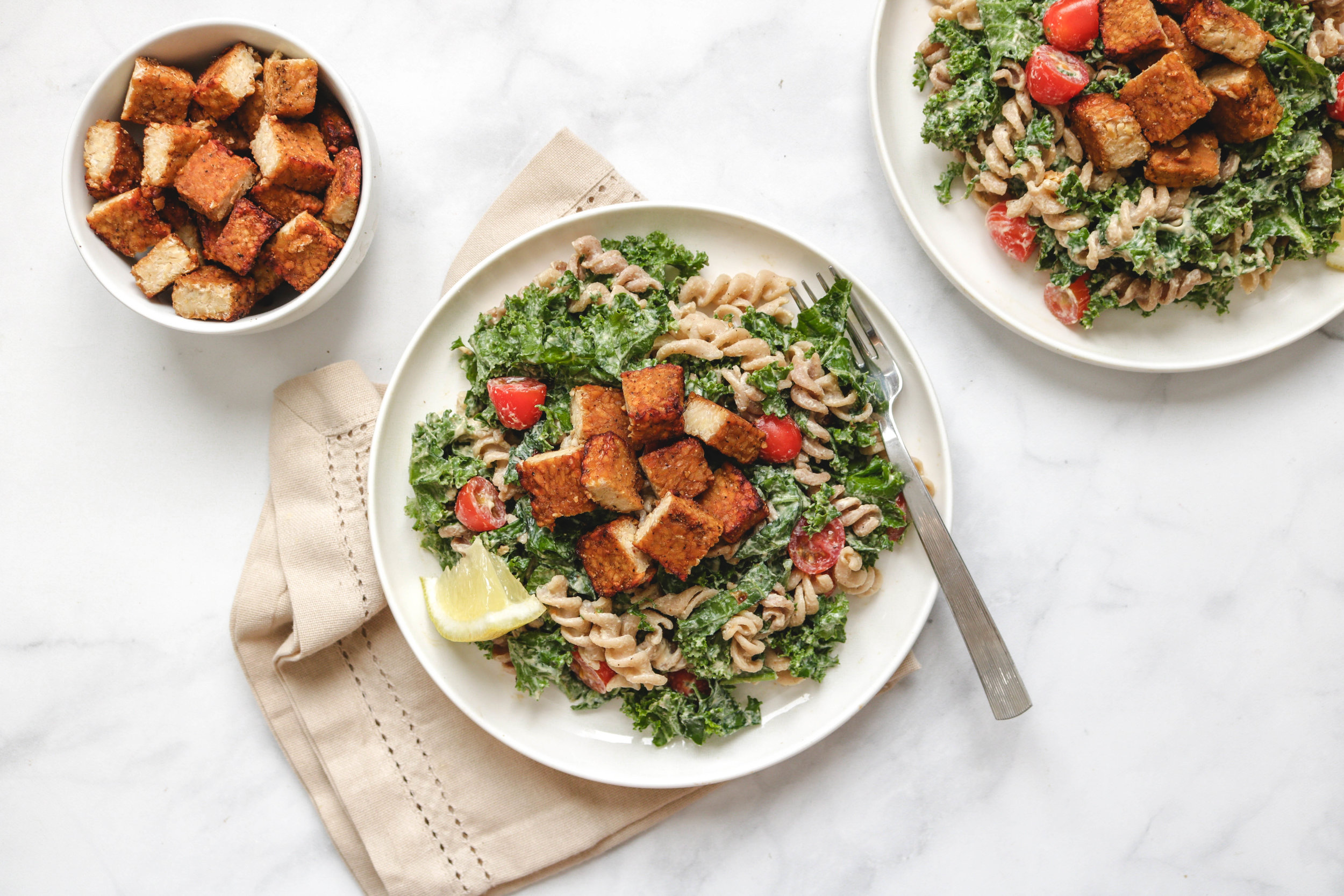 Kale Miso Caesar Pasta Salad with Smoky Tempeh