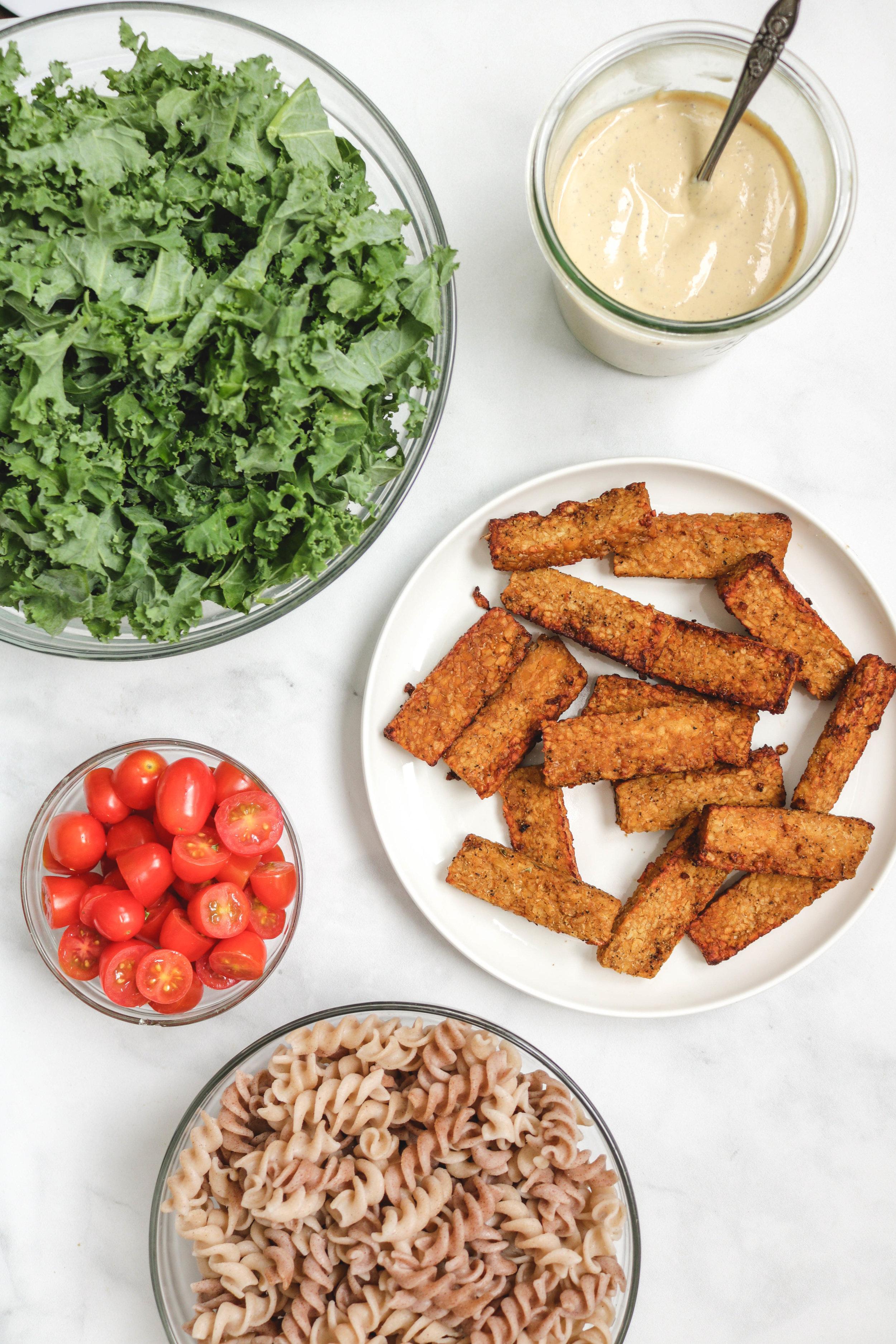Kale Miso Caesar Pasta Salad with Smoky Tempeh ingredients