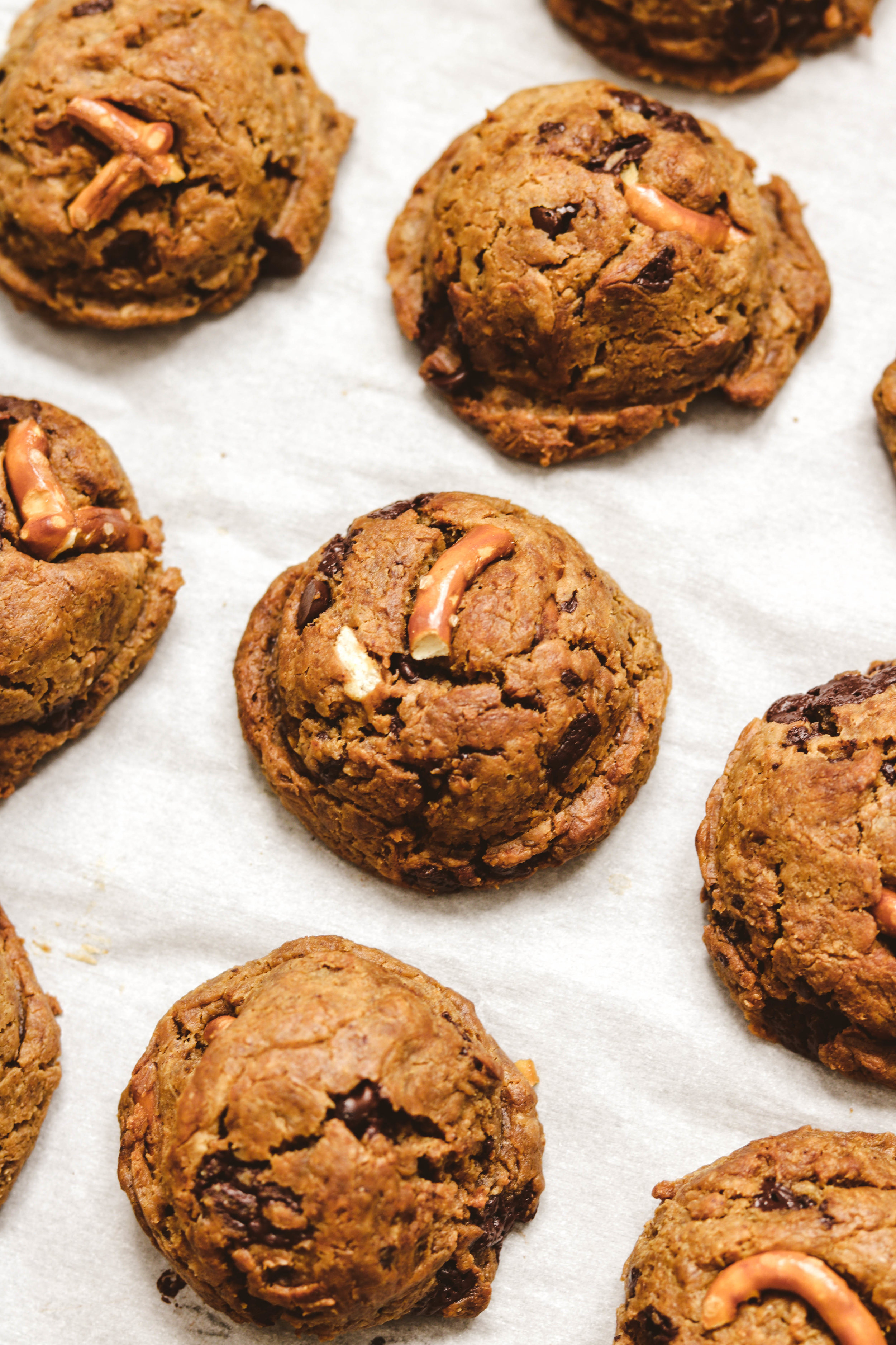 Salted Pretzel Chocolate Chip Chickpea Cookies