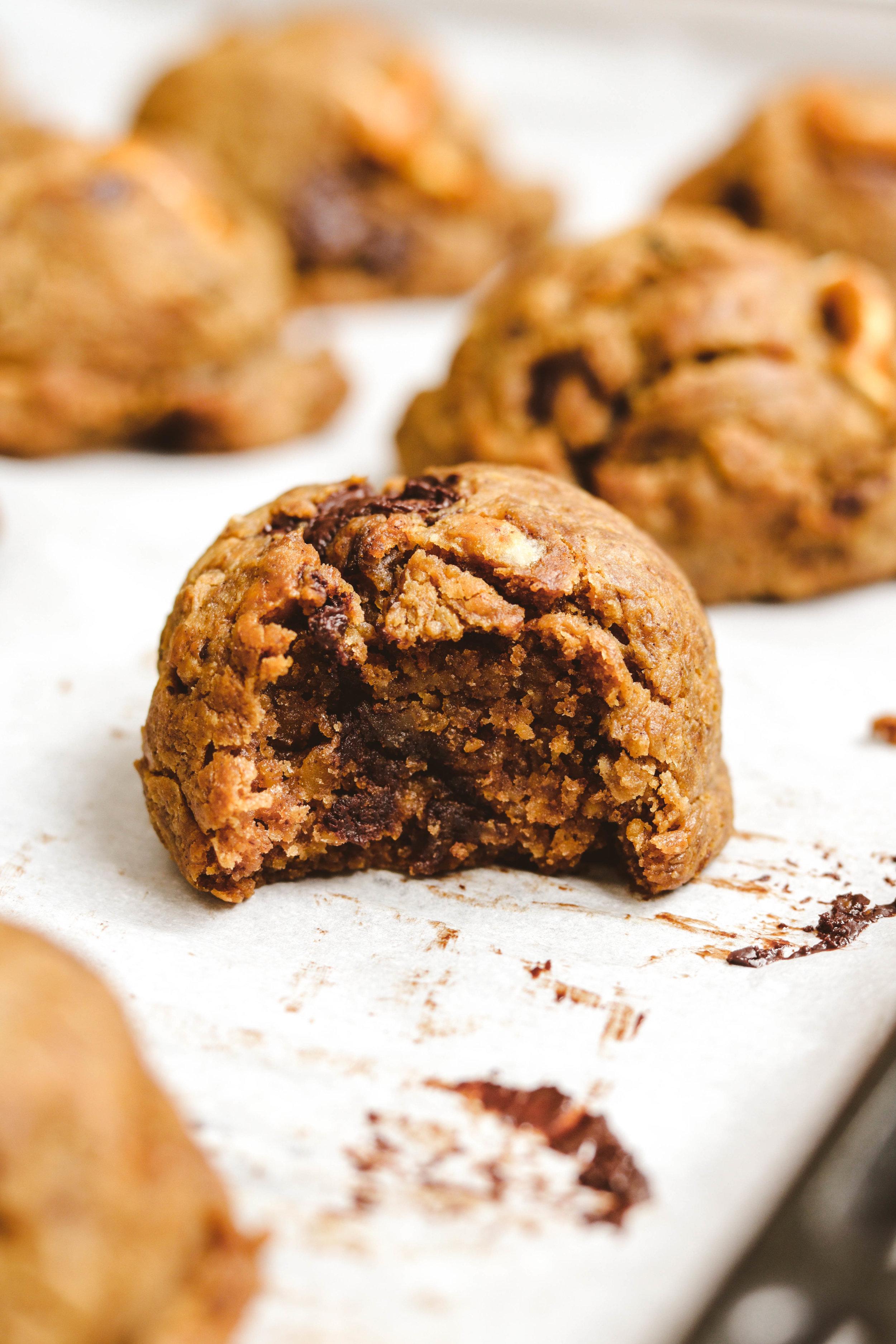 Chocolate Chip Chickpea Cookies bite shot