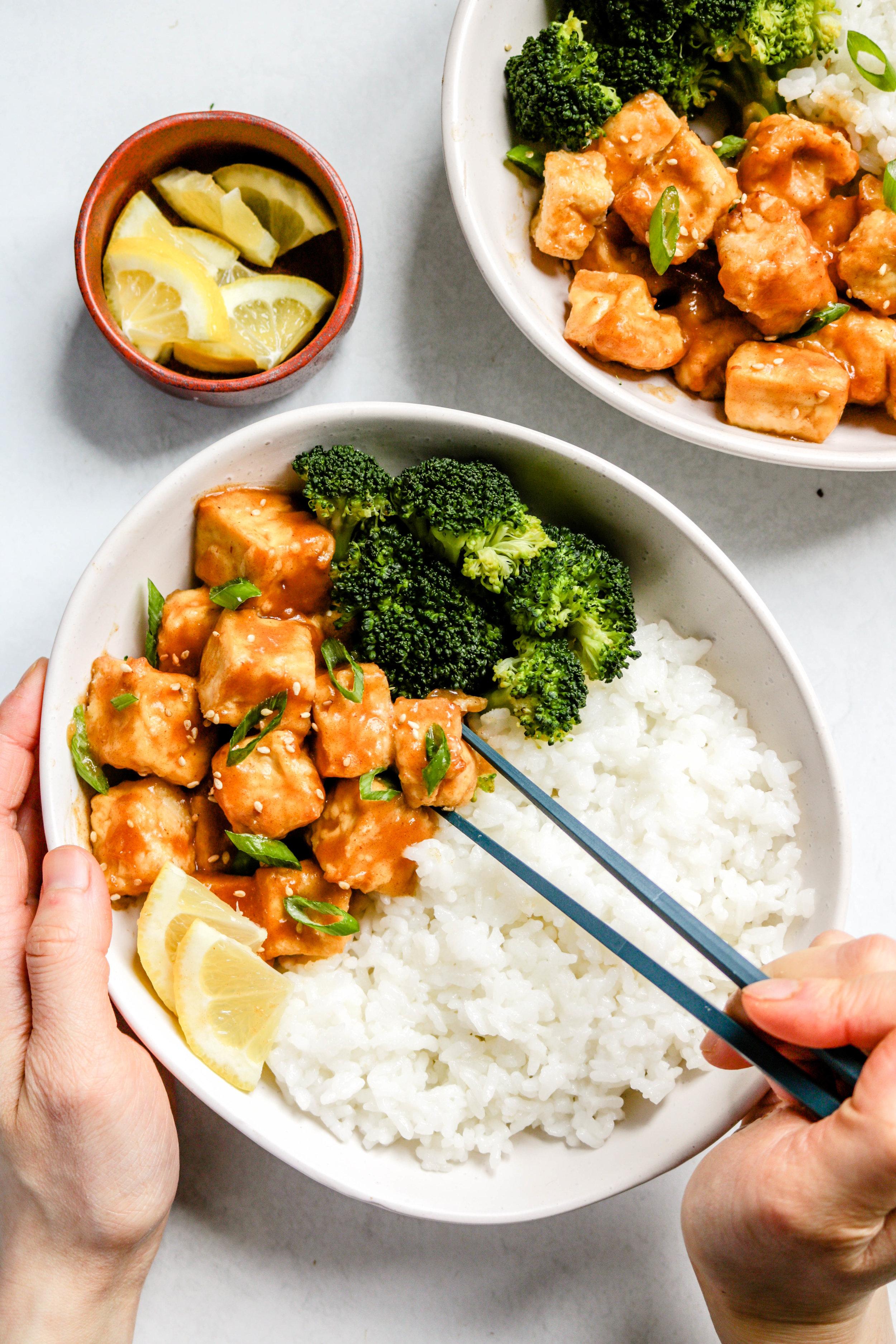 air fryer sticky lemon tofu