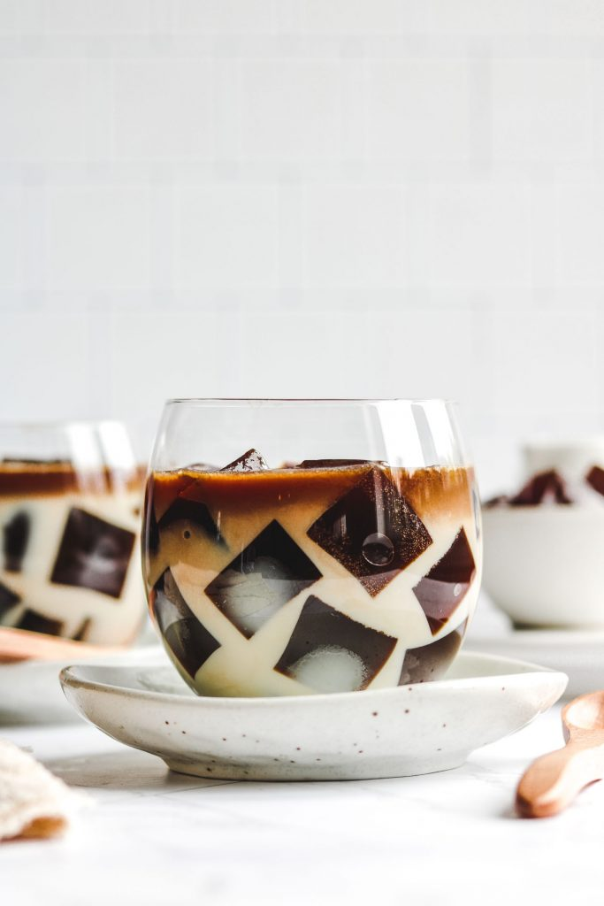 japanese coffee jelly dessert in a cute cup