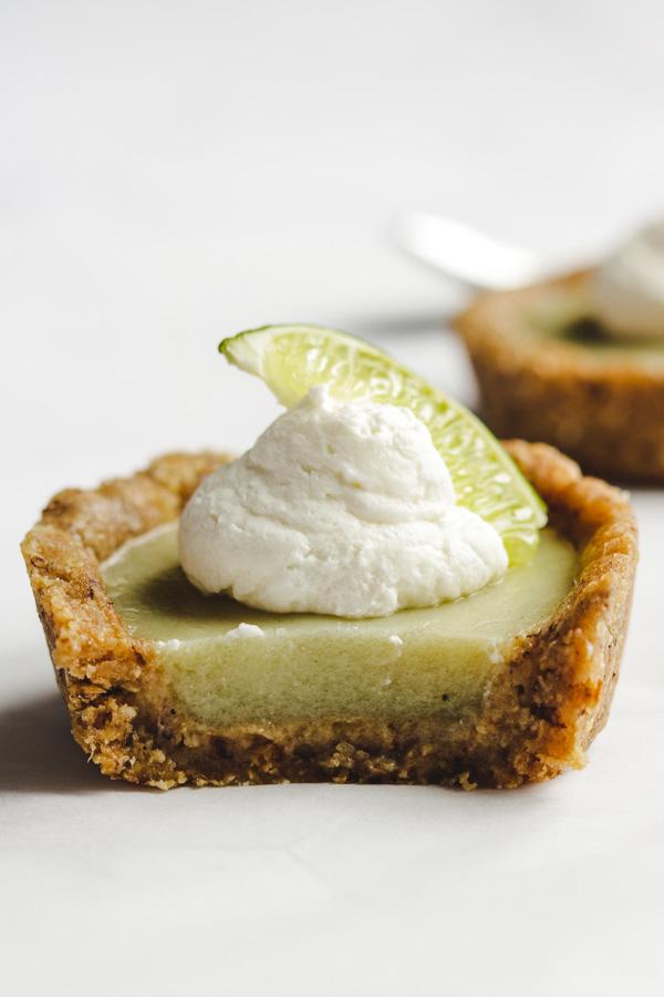mini key lime pies close up bite shot