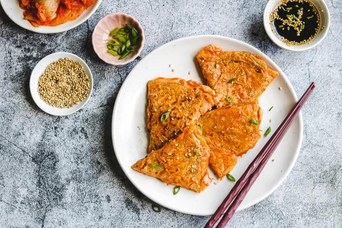 vegan korean kimchi pancakes