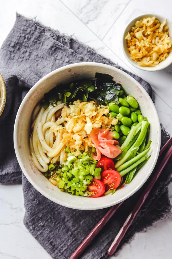 tanuki udon in pink bowl