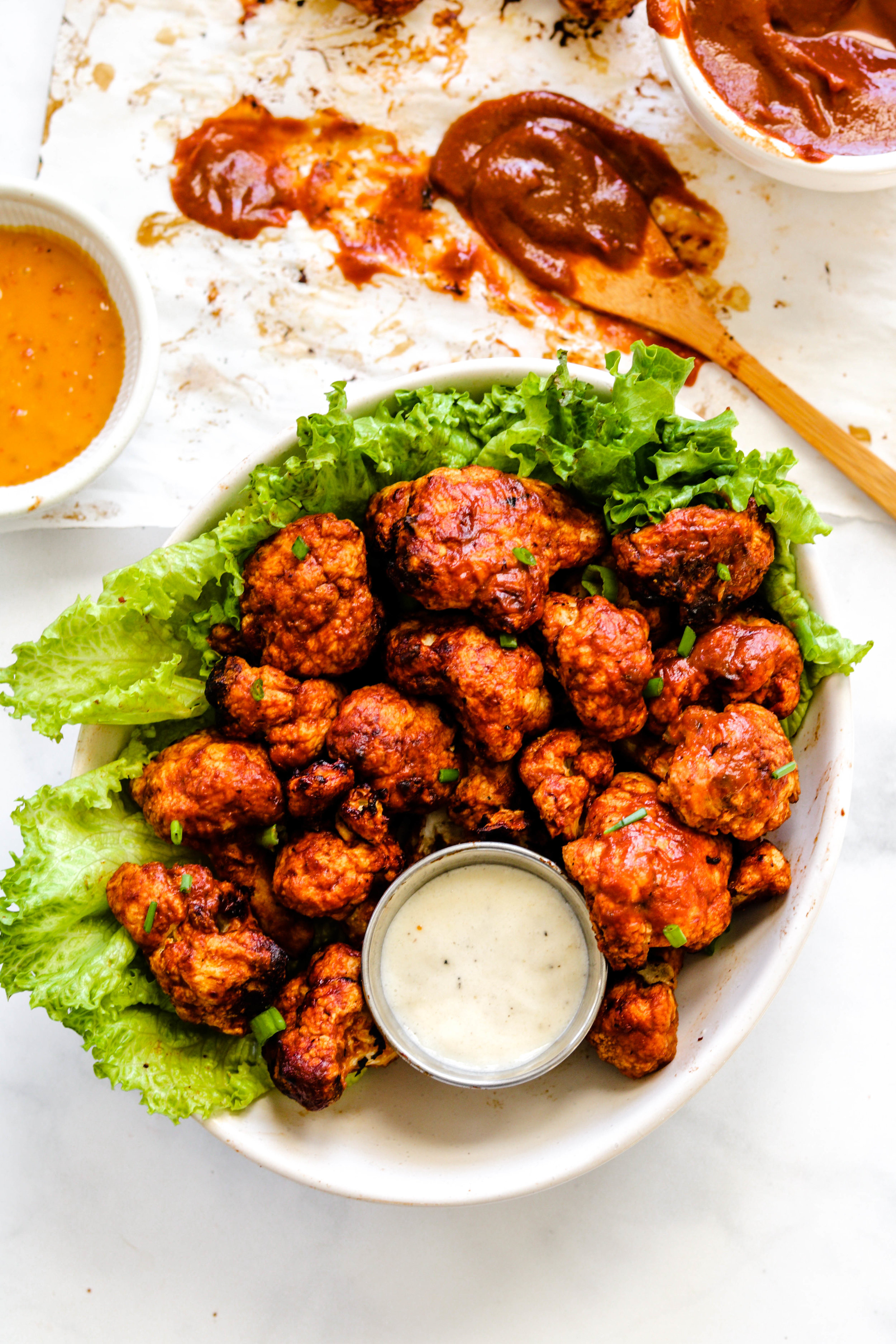 Air Fryer BBQ Cauliflower Wings in a bowl