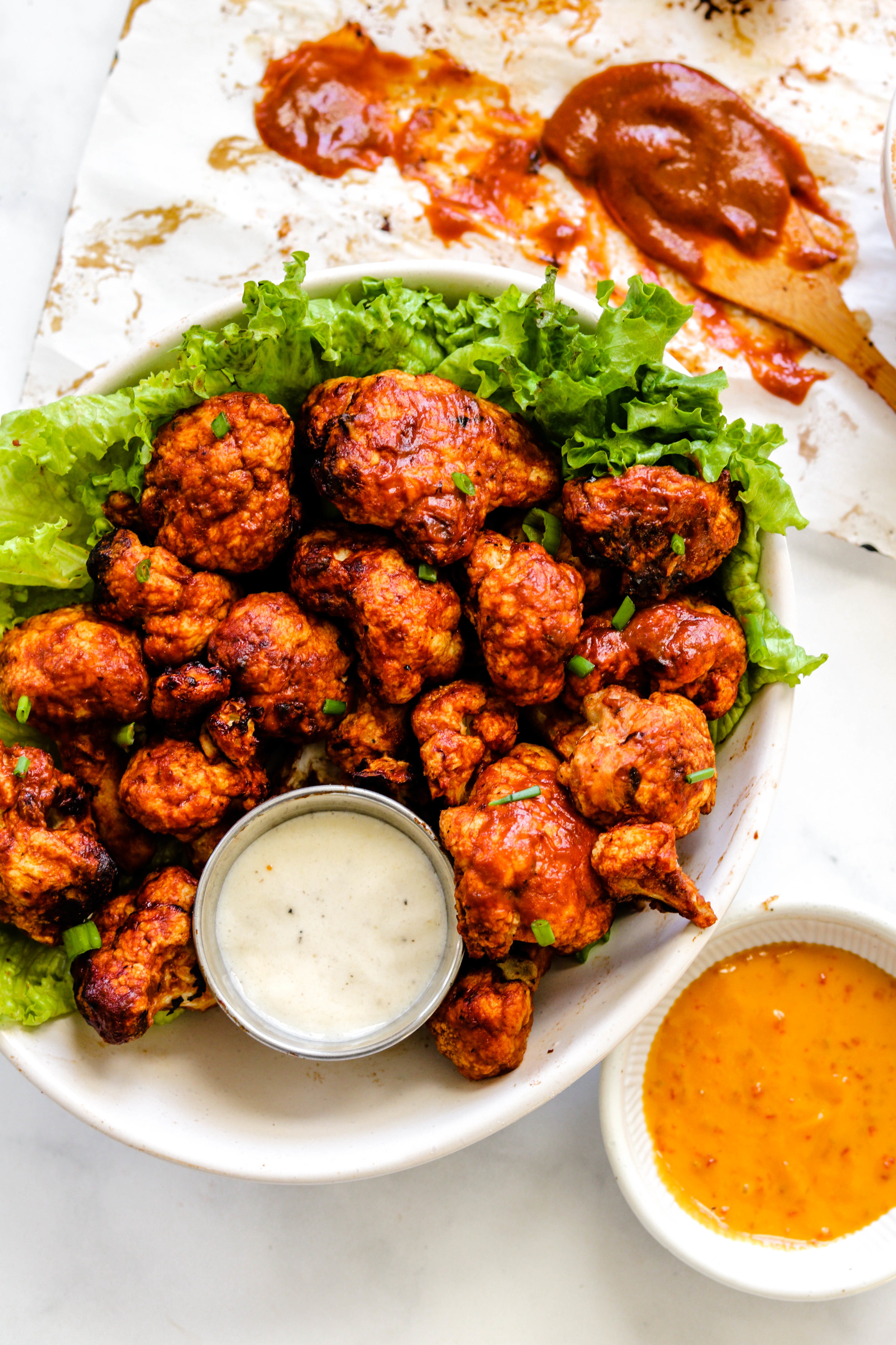 Air Fryer BBQ Cauliflower Wings with sauce