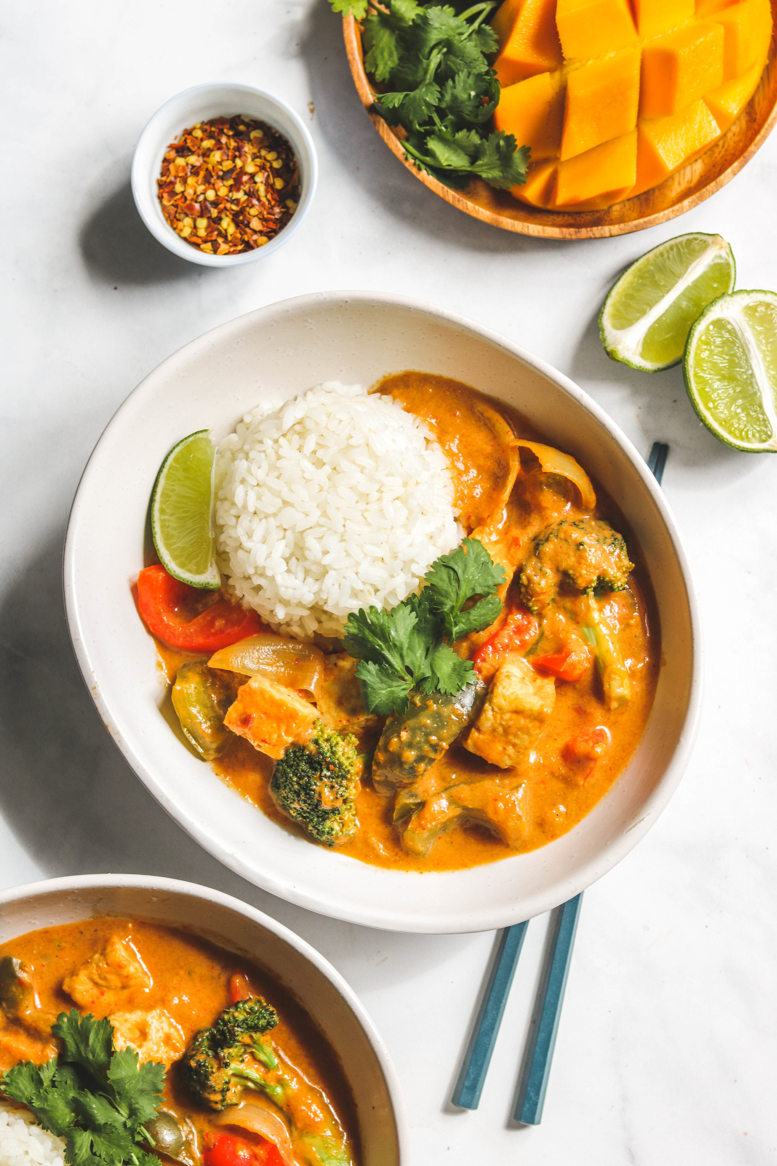 mango coconut curry with tofu and vegetables