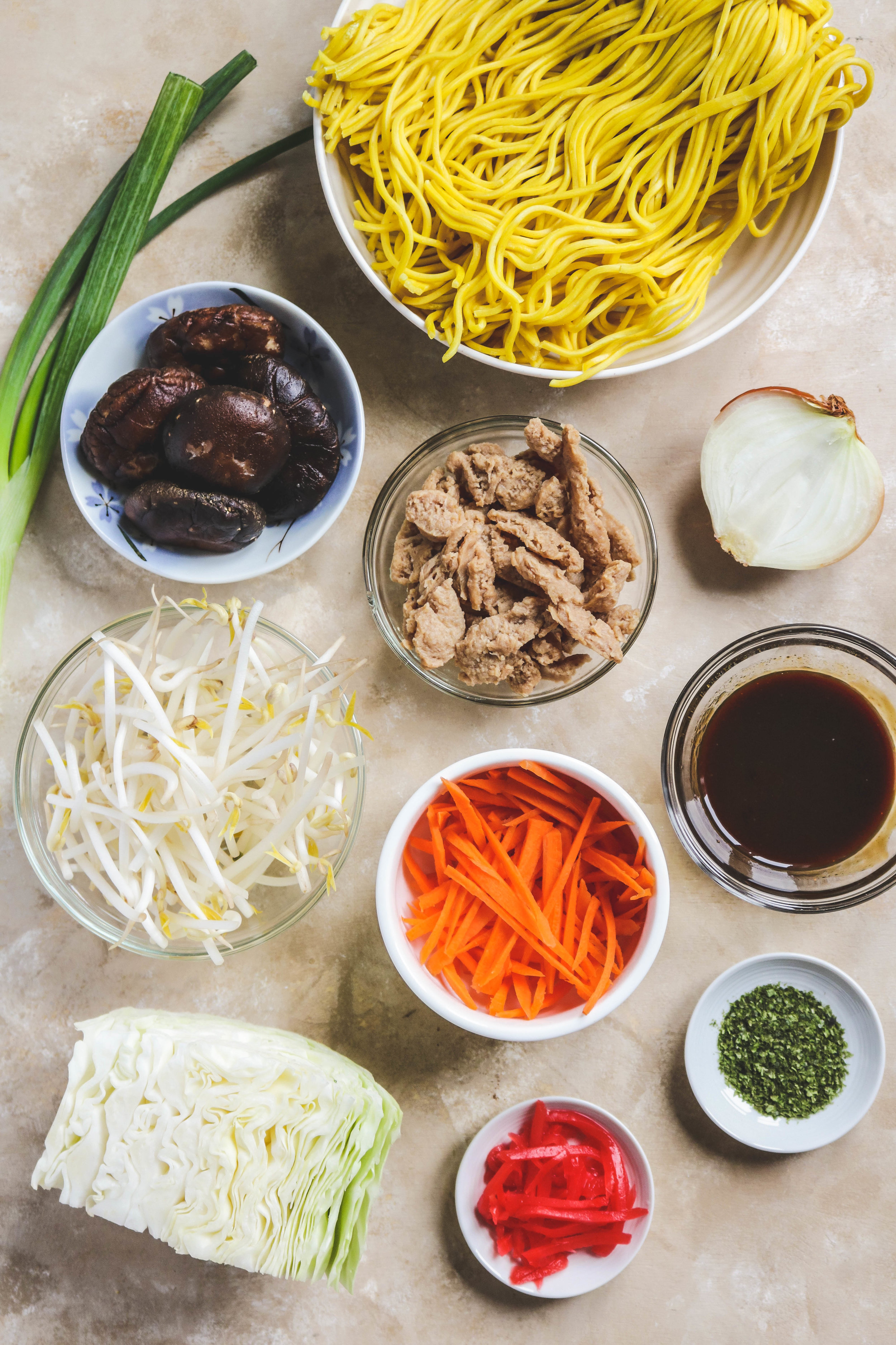 vegan yakisoba ingredients
