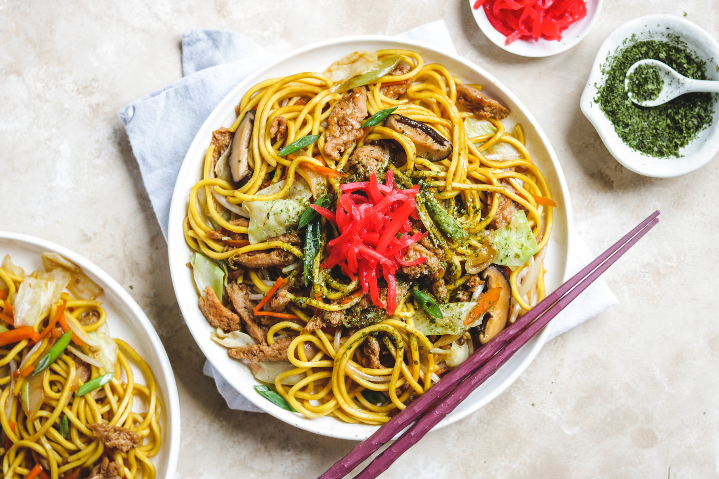 vegan yakisoba on white plate