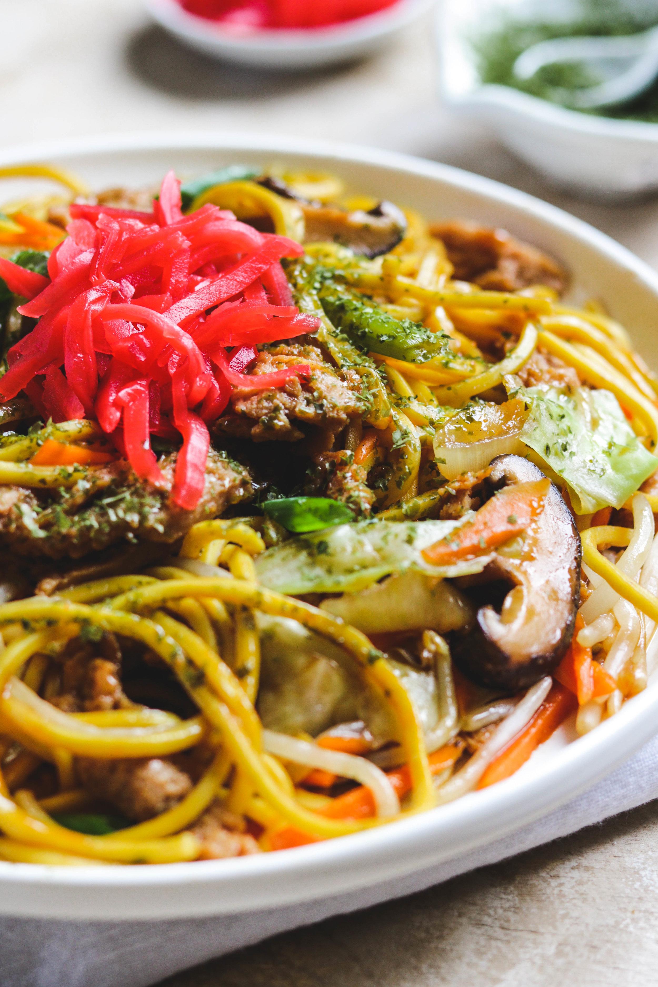 vegetarian yakisoba closeup