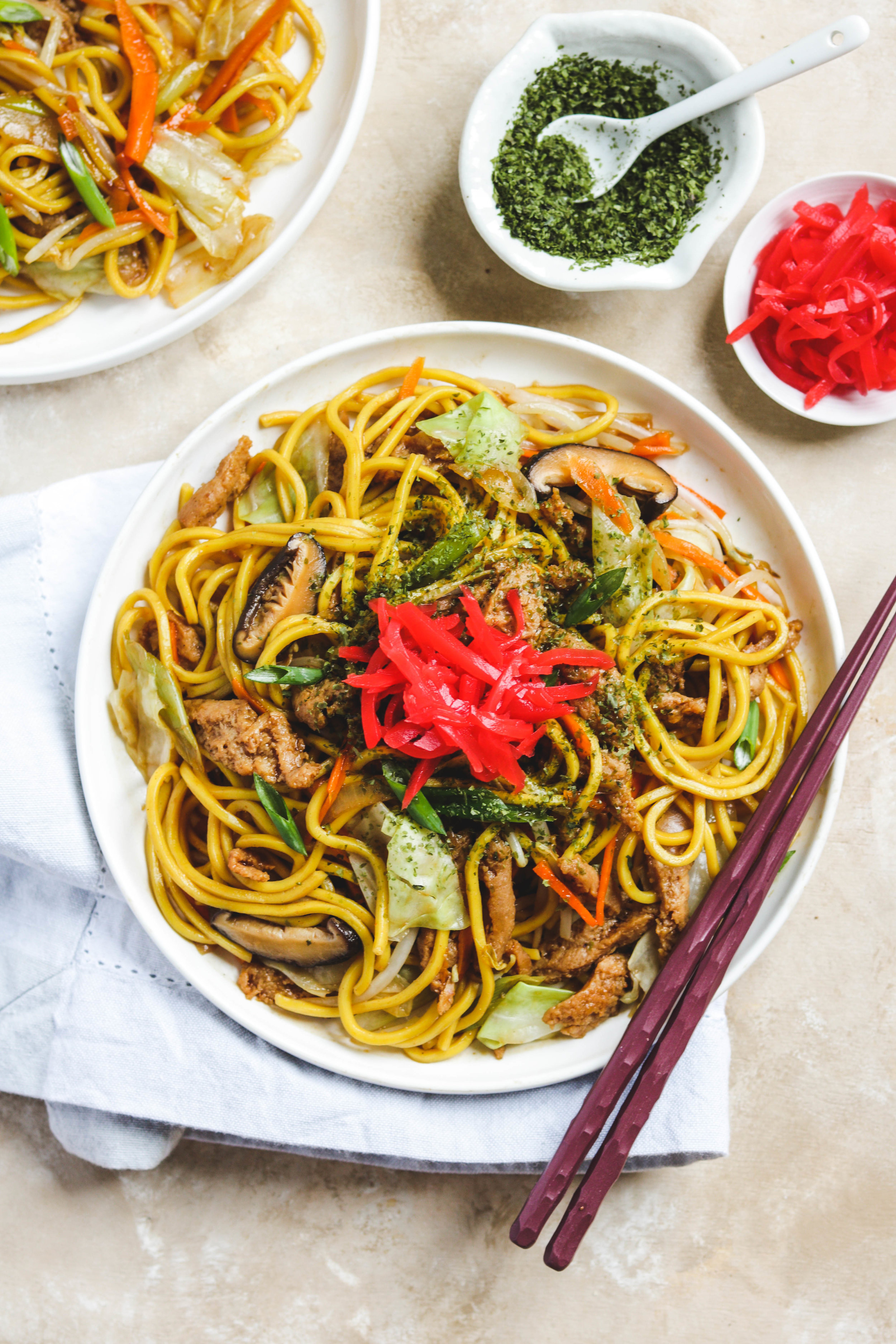 vegetarian japanese stir fry on white plate