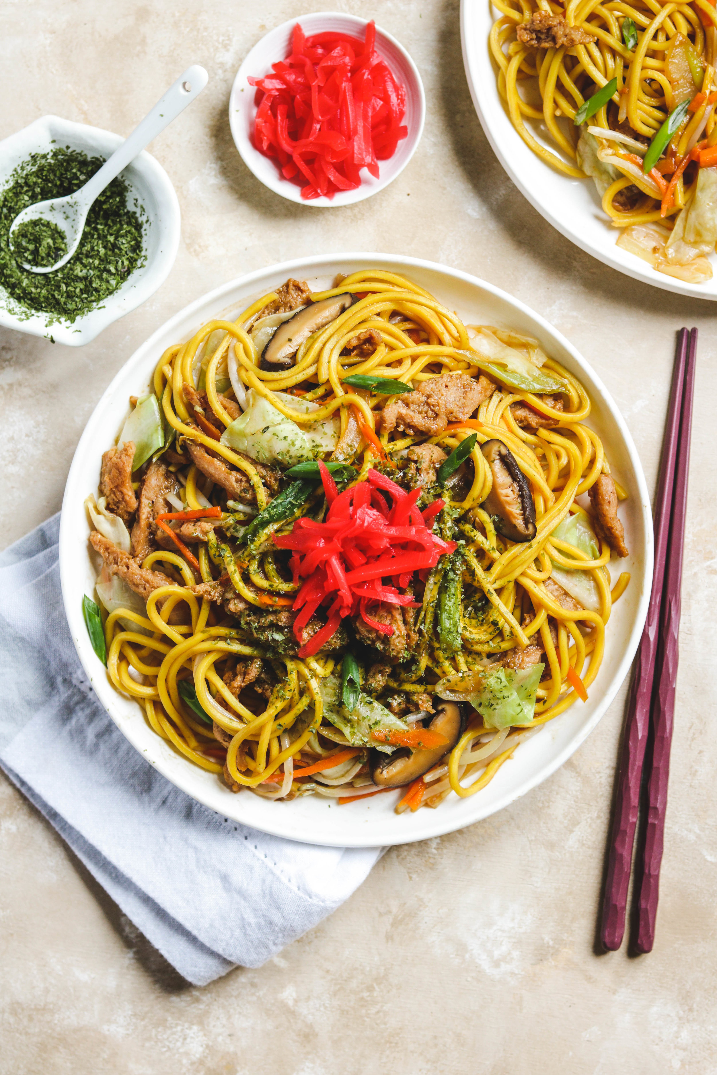 vegan yakisoba in white plate