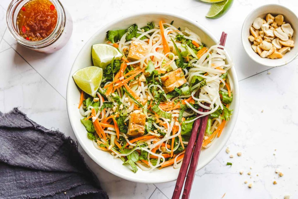 Vietnamese Vermicelli Noodle Salad with Tofu vegetarian
