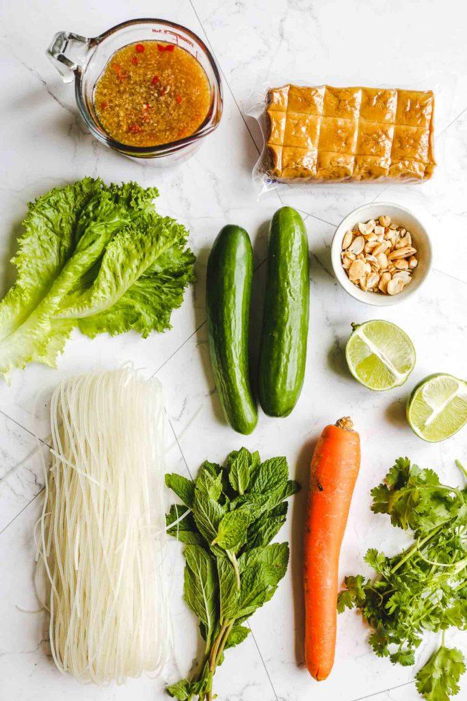 Vietnamese Vermicelli Noodle Salad with Tofu ingredients