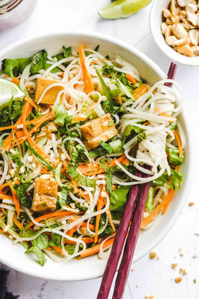 Vietnamese Vermicelli Noodle Salad with Tofu close up