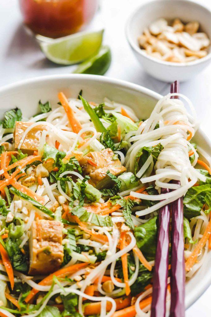 Vietnamese Rice Noodle Salad close up
