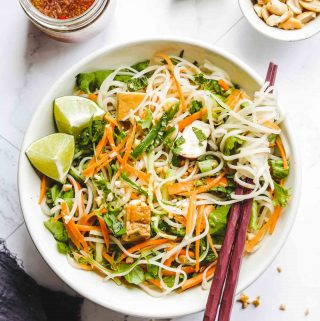 Vietnamese Vermicelli Noodle Salad with Tofu in a white bowl