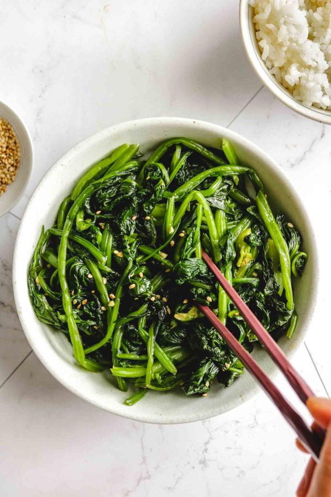 korean spinach side dish in a bowl