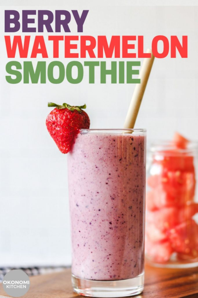 strawberry watermelon smoothie in a cup pinterest text