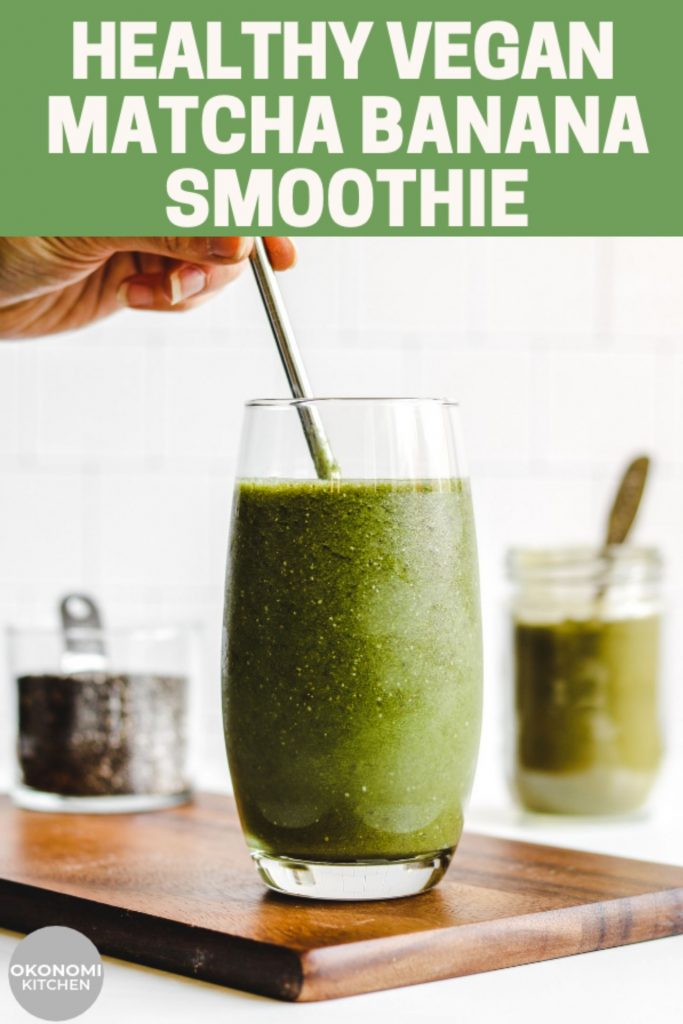 healthy vegan matcha smoothie pin