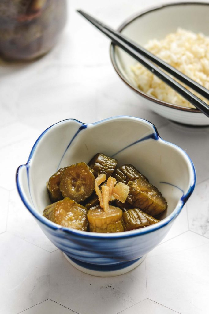 japanese pickled cucumbers made with soy sauce with rice