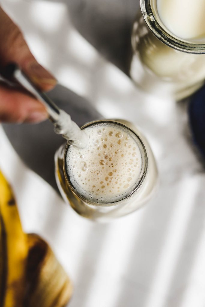 vegan korean banana milk top shot