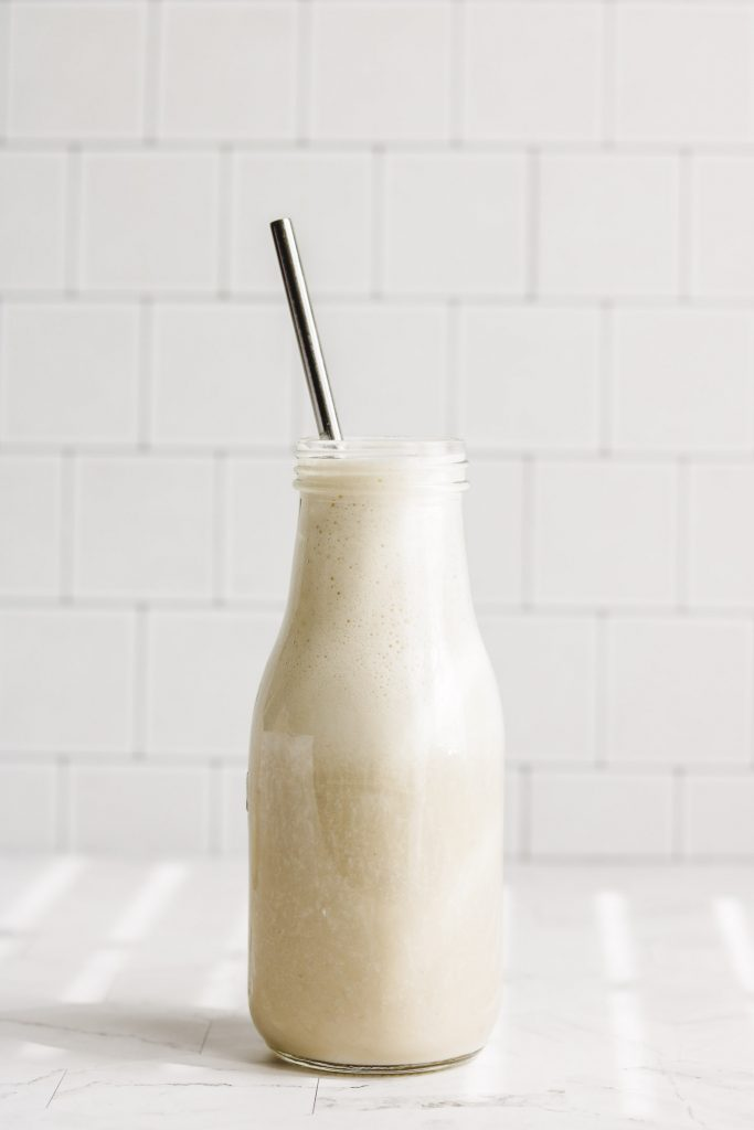 dairy free korean banana milk side shot