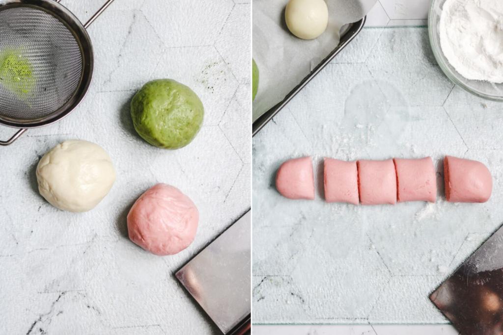 3 colours of dango dough prep