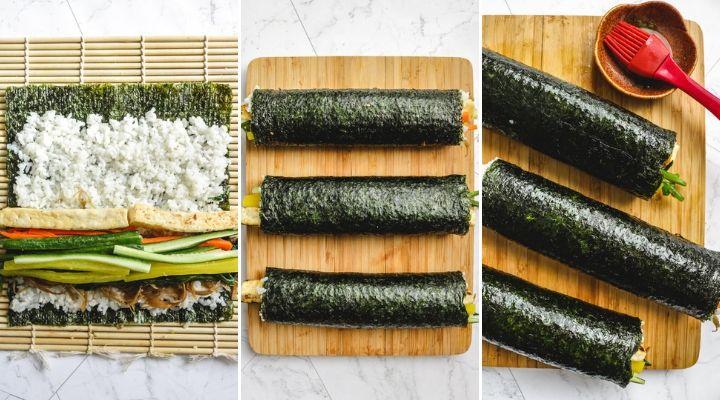 rolling kimbap sushi rolll