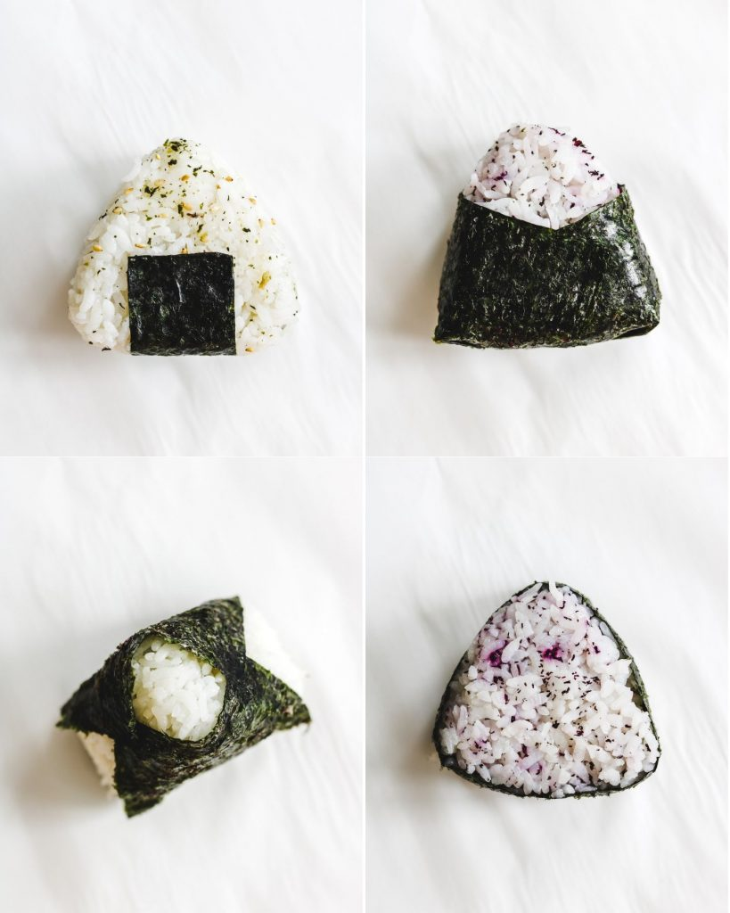 wrapping rice balls with nori